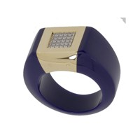 Andre Benitah Creations Paris Resin Gold And Diamonds In A Square Setting Ring Lapis