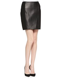 Abs By Allen Schwartz A.B.S. Lambskin Leather And Ponte Skirt Black