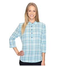 Royal Robbins Oasis Plaid Popover Top Rainshower Women's Long Sleeve Pullover Green