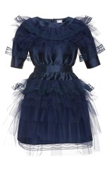 Alexis Mabille Tulle Accent Cocktail Dress Navy