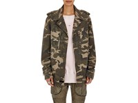 Faith Connexion Women's Fringed Camouflage Print Canvas Jacket Green