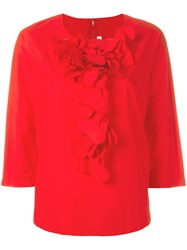 Comme Des Garcons Ruffle Front Blouse Red