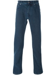 Jacob Cohen Stitched Accent Slim Jeans Blue