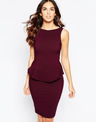 Vesper Sarah Peplum Midi Dress Purple