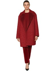 Marina Rinaldi Astrakan Effect Mohair And Camel Coat Red
