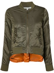 Veronica Beard Back Slit Bomber Jacket Green