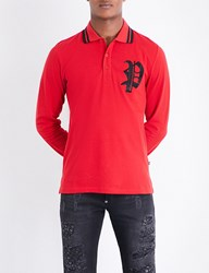 Philipp Plein Logo Embroidered Cotton Piqua Polo Shirt