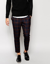Selected Tartan Cropped Trousers In Skinny Fit Navycheck