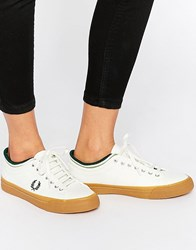 Fred Perry Kendrick Tipped Cuff Canvas White Trainers With Gum Sole Whiter Grey