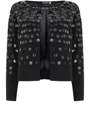 Mint Velvet Black Sequin Cropped Cardigan Black