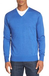 Men's Peter Millar Silk Blend V Neck Sweater Scottish Blue