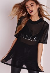 Missguided I'm A Mouse Duh Printed Mesh T Shirt Black