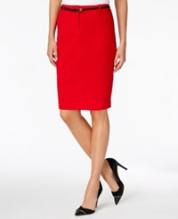 Calvin Klein Petite Belted Pencil Skirt Red