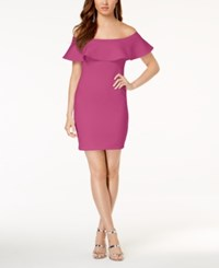 Guess Off The Shoulder Bodycon Dress Berry Tango