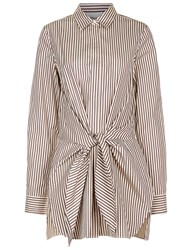 3.1 Phillip Lim Ecru And Brown Striped Knot Shirt