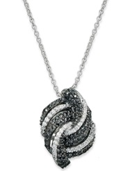 Macy's Wrapped In Love Sterling Silver Necklace Black And White Diamond Pendant 3 4 Ct. T.W.