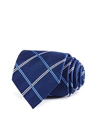 Burma Bibas Plaid Silk Classic Tie Compare At 49.50 Navy Blue