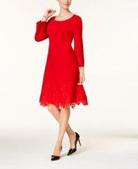 Charter Club Petite Lace Hem Fit And Flare Dress Created For Macy's Cc Diva Red