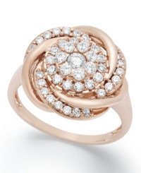 Wrapped In Love Diamond Ring 14K Rose Gold Diamond Pave Knot Ring 3 4 Ct. T.W.