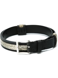 Faith Connexion Woven Panel Buckle Belt Black