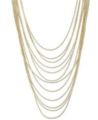 2028 Gold Tone Multi Row Chain Necklace