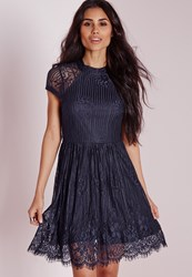 Missguided Open Back Lace Skater Dress Navy Blue