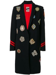 History Repeats Embellished Patch Coat Cotton Polyamide Acetate Virgin Wool Blue