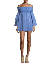 Red Carter Off The Shoulder Bell Sleeve Chambray Mini Dress Blue