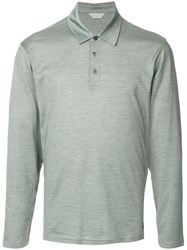 Gieves And Hawkes Long Sleeve Polo Shirt Grey
