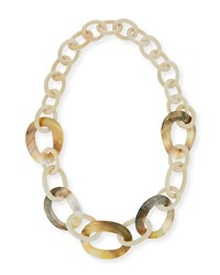 Viktoria Hayman White Wood And Mother Of Pearl Link Necklace