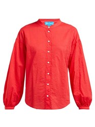 Mih Jeans M.I.H Colt Band Collar Cotton Seersucker Shirt Red