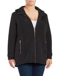 Calvin Klein Plus Removable Hood Quilted Coat Black