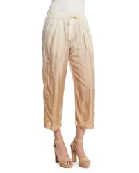 Donna Karan Dip Dye Wide Leg Cropped Pants Paper Bag Parchment