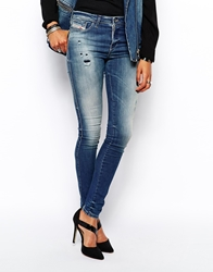 Diesel Skinzee Skinny Jeans With Distressing Blue