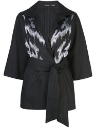 Natori Taffeta Embroidered Belted Jacket 60
