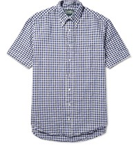 Gitman Brothers Vintage Button Down Collar Gingham Linen And Cotton Blend Shirt Navy