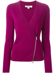 Pierre Balmain V Neck Zipped Cardigan Pink And Purple