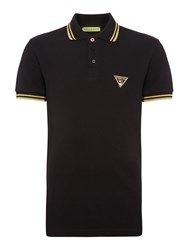 Versace Men's Jeans Tipped Triangle Logo Polo Shirt Black