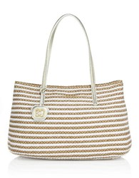 Eric Javits Dame Brooke Woven Straw And Textile Tote