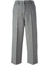 Edun Houndstooth Pattern Cropped Trousers Black