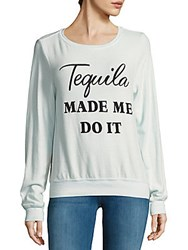 Wildfox Couture Long Sleeve Printed Pullover Ice Cold