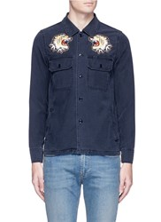 Remi Relief Stud Tiger Patch Military Shirt Blue