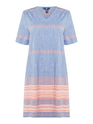 Gant Striped V Neck Chambray Tunic Blue