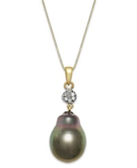Macy's Baroque Tahitian Pearl 12 Mm And Diamond Accent Pendant Necklace In 14K Gold Gray