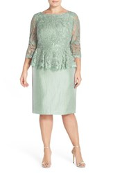 Plus Size Women's Adrianna Papell Floral Embroidered Peplum Dress