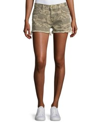 Current Elliott The Boyfriend Broken Camo Denim Shorts Green Pattern