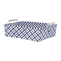 Handed By Motif Square Basket With Handles Navy White Blue