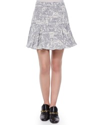 Derek Lam 10 Crosby Cotton Blend Fit And Flare Skirt Size 0 Blue