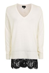 Topshop Tall Longline Lace Hem Knitted Jumper Ivory