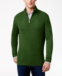 Geoffrey Beene Men's Quarter Zip Drop Needle Sweater Forest